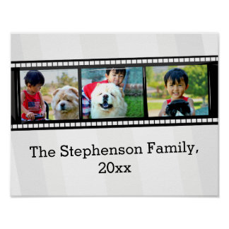 3-Photo film strip personalized photo Poster