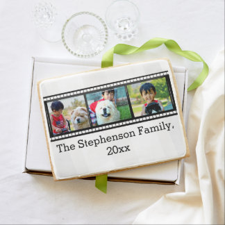 3-Photo film strip personalized photo Shortbread Cookie