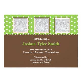 "3 Photo Green and Brown Birth Announcement 5"" X 7"" Invitation Card"