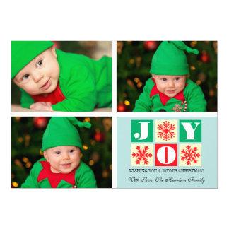 3 Photo Holiday Joy Snowflake Photo Card