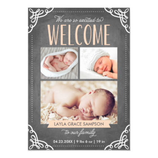 3-Photo invitación agradable del nacimiento de la