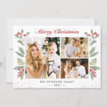 """3 Photo Merry Christmas Holly Berry Gold Confetti Holiday Card<br><div class=""""desc"""">Send your Christmas wishes/message with this Mistletoe Botanical Photo Cards that feature Watercolor Floral and Berries with a little Gold Confetti to highlight your greeting message. (1) For further customization, please click the """"customize further"""" link and use our design tool to modify this template. (2) If you prefer Thicker papers...</div>"""