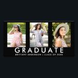 """3 Photo Modern Grad Announcement Card<br><div class=""""desc"""">Modern 3 Photo Graduation Announcement Card</div>"""