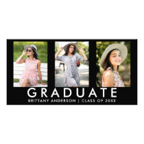 3 Photo Modern Grad Announcement Card
