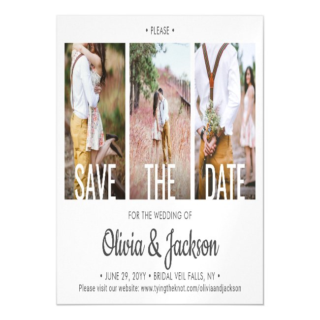 3 Photo Modern Typography Wedding Save the Date Magnetic Invitation