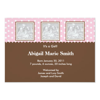 """3 Photo Pink and Brown Birth Announcement 5"""" X 7"""" Invitation Card"""