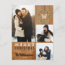 3 Photo Rustic Wood Christmas Holiday Greeting