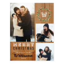 3 Photo Rustic Wood Christmas Holiday Greeting Postcard