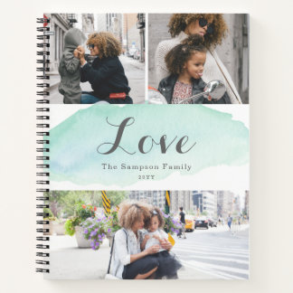 3 Photo Turquoise Watercolor Notebook