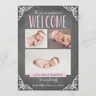 3-Photo Welcome Chalkboard | Birth Announcement