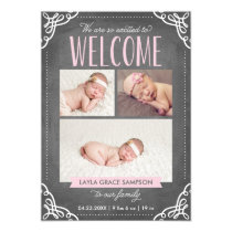 3-Photo Welcome Chalkboard   Birth Announcement