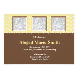 """3 Photo Yellow and Brown Birth Announcement 5"""" X 7"""" Invitation Card"""