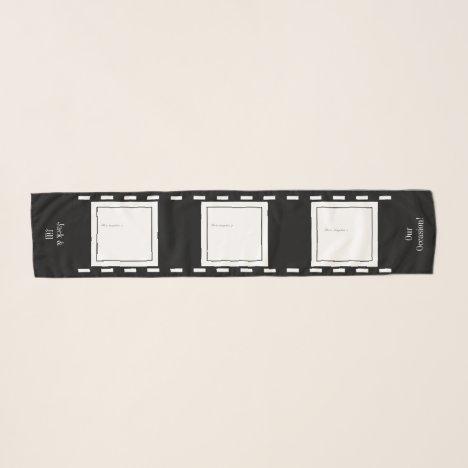3 Photos Film Stars Long Striped Chiffon Scarf