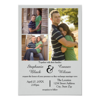 3 Photos Gray - 3x5 Wedding Invitation