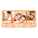 3 Photos Love Birds Orange Damask Save the Date Personalized Photo Card
