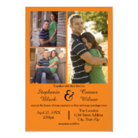 3 Photos Orange - 3x5 Wedding Invitation
