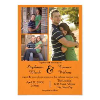 3 Photos Orange - Wedding Invitation
