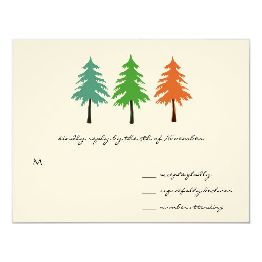 3 Pine Trees Wedding Response Card Custom Invites