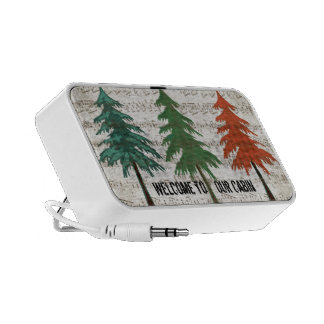 3 Pine Trees Welcome to Our Cabin Laptop Speaker