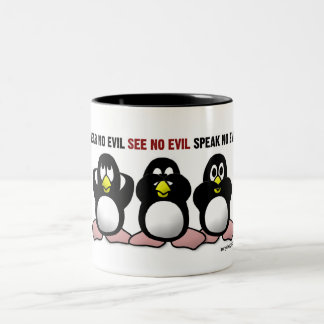 3 pingüinos sabios taza de dos tonos