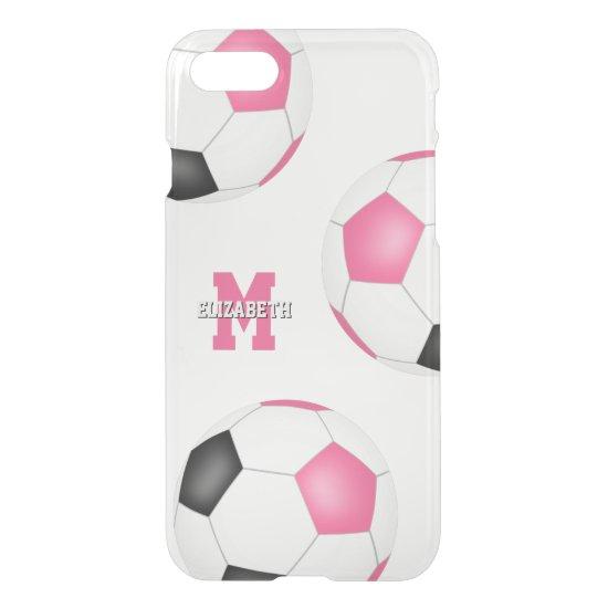 3 pink black white soccer balls girls sports iPhone SE/8/7 case