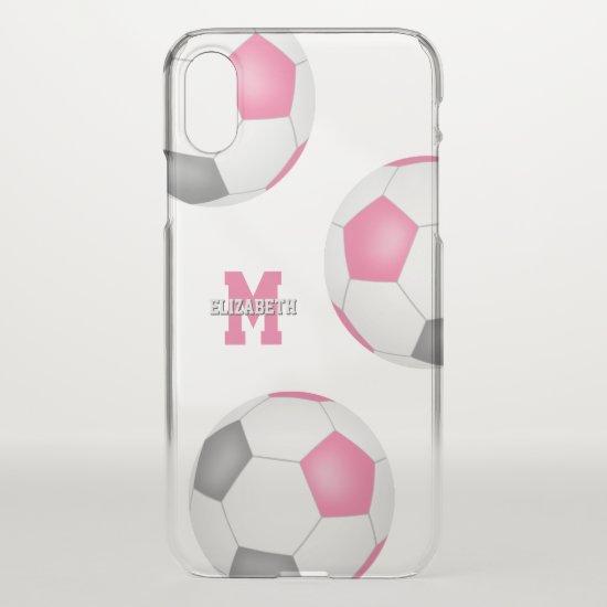 3 pink black white soccer balls girls sports iPhone XS case