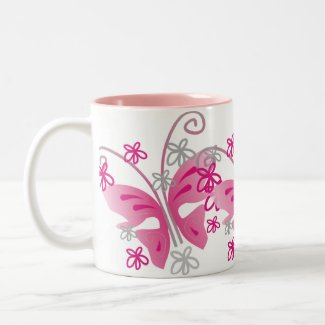 3 pink butterflies mug