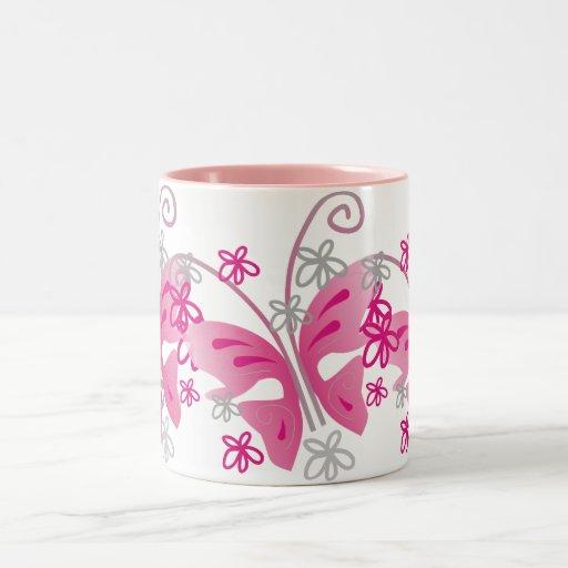 3 pink butterflies mugs