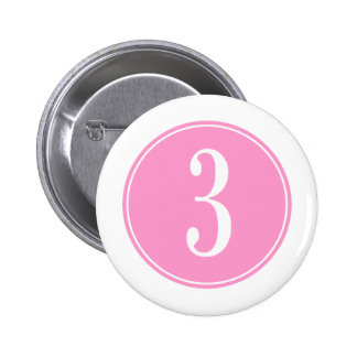 #3 Pink Circle 2 Inch Round Button