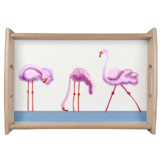 3 pink flamingos serving tray