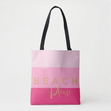 Beach Themed 3 Pink Stripes Beach Please Gold Glitter Tote Bag