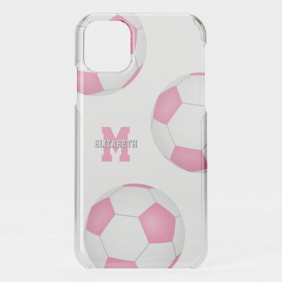 3 pink white soccer balls girls sports iPhone 11 case