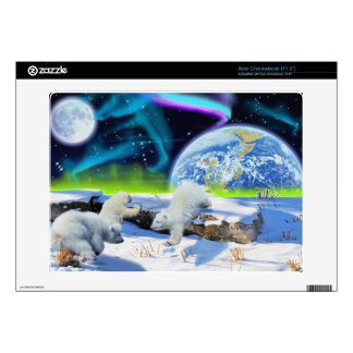 3 Polar Bear Cubs Playing in Snow - Earth Day Art Acer Chromebook Decal