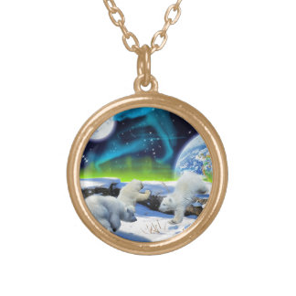 3 Polar Bear Cubs Playing in Snow - Earth Day Art Gold Plated Necklace
