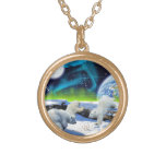 3 Polar Bear Cubs Playing in Snow - Earth Day Art Pendants