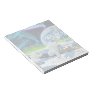 3 Polar Bear Cubs Playing in Snow - Earth Day Art Note Pad