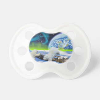 3 Polar Bear Cubs Playing in Snow - Earth Day Art Pacifiers