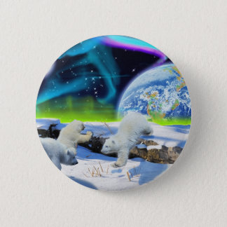 3 Polar Bear Cubs Playing in Snow - Earth Day Art Pinback Button