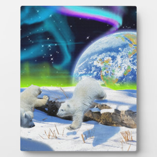 3 Polar Bear Cubs Playing in Snow - Earth Day Art Display Plaque