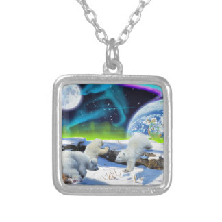 3 Polar Bear Cubs Playing in Snow - Earth Day Art Silver Plated Necklace