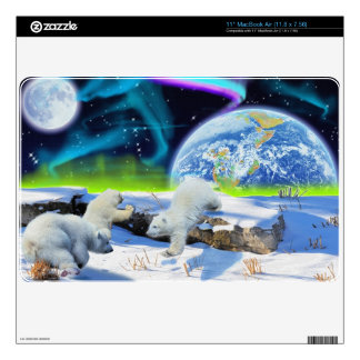 3 Polar Bear Cubs Playing in Snow - Earth Day Art Decal For MacBook Air