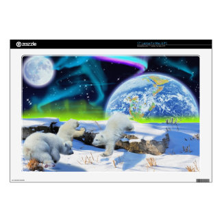 """3 Polar Bear Cubs Playing in Snow - Earth Day Art 17"""" Laptop Decals"""