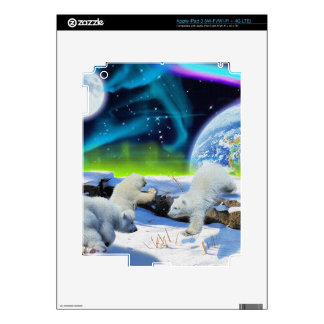 3 Polar Bear Cubs Playing in Snow - Earth Day Art Decals For iPad 3