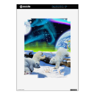 3 Polar Bear Cubs Playing in Snow - Earth Day Art iPad 2 Decals