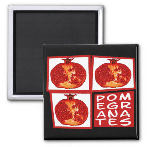 3 Pomegranate slices Art Deco Magnet