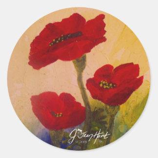 3 Poppies Classic Round Sticker