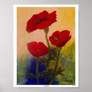 3 Poppies Print