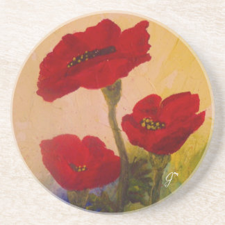 3 Poppies Sandstone Coaster