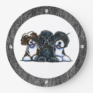 3 Portuguese Water Dogs Large Clock