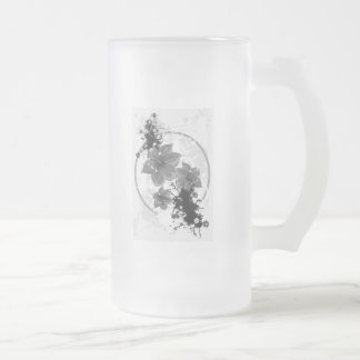 3 Pretty Flowers - B&W Infrared Frosted Glass Beer Mug